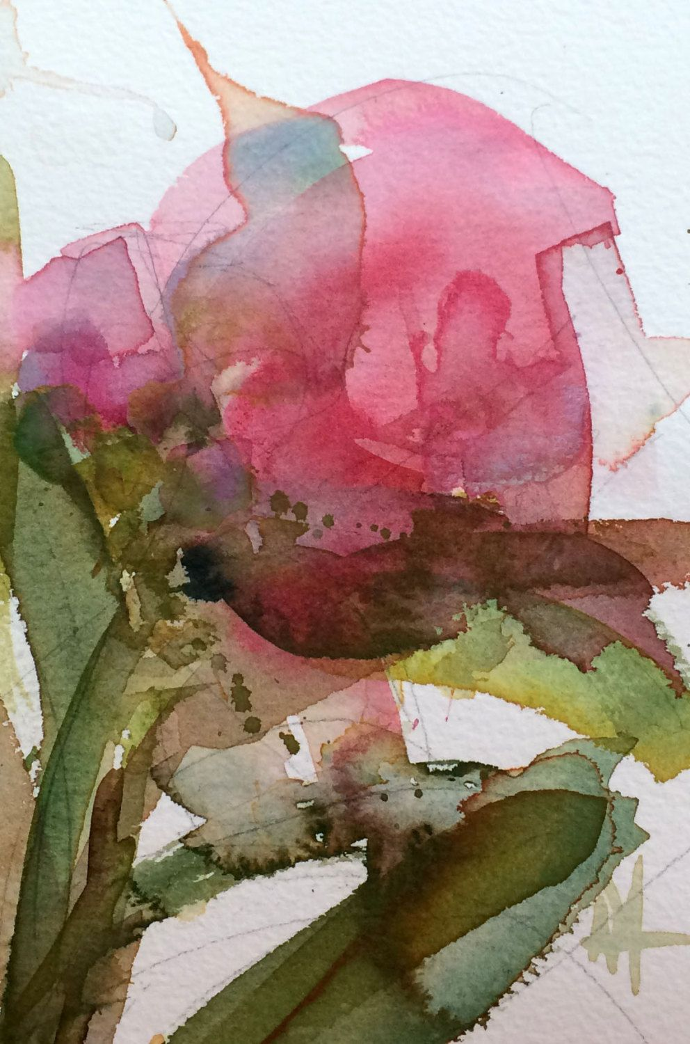 Pink Peony no. 16 Original Floral Watercolor Painting by Angela ...