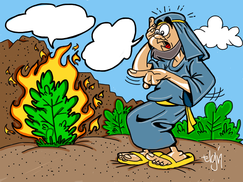 Moses And The Burning Bush Cartoon Amp Coloring Page