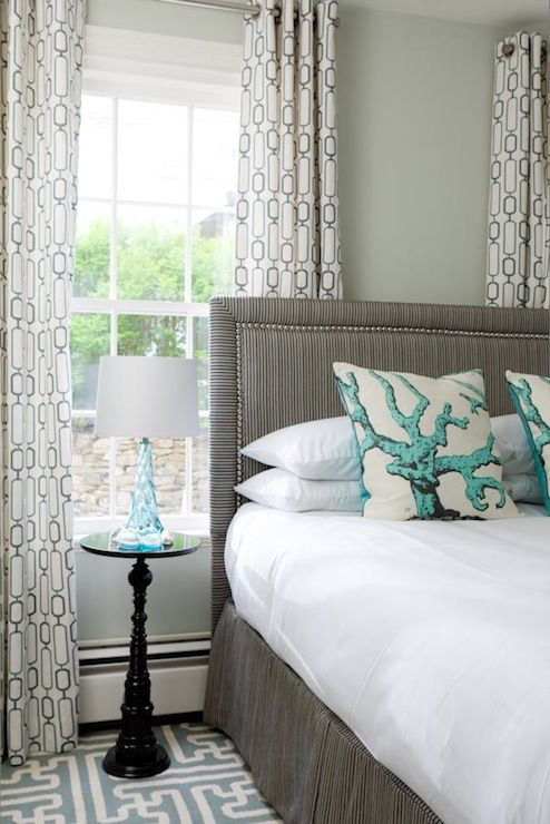 fetching image of bedroom decoration using sage green | Chic gray and blue bedroom design with sage green walls by ...