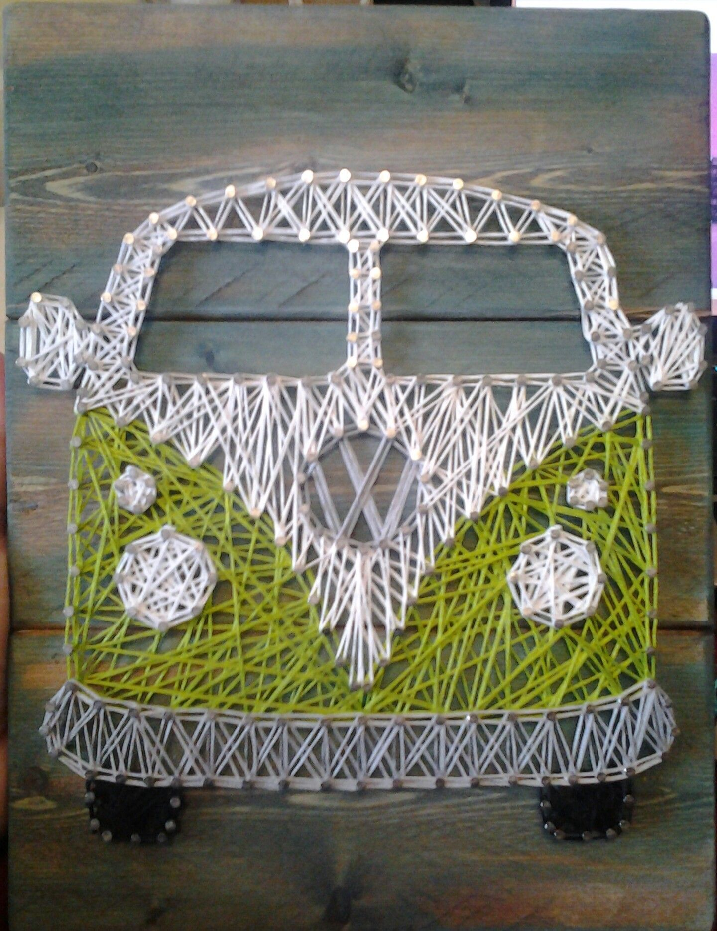 vw bus hippie van string art diy 39 ed string art. Black Bedroom Furniture Sets. Home Design Ideas