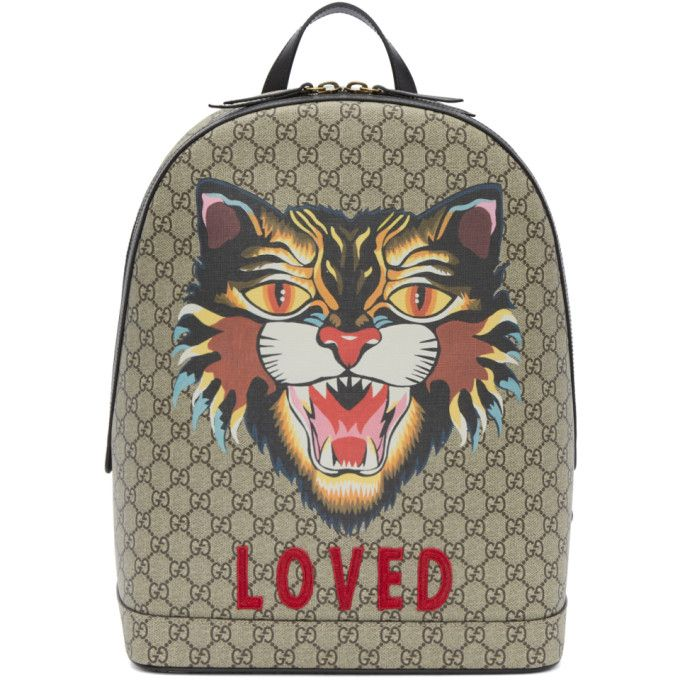 a8775afa3ec0 GUCCI Beige GG Supreme 'Loved' Angry Cat Backpack. #gucci #bags #leather  #canvas #backpacks #