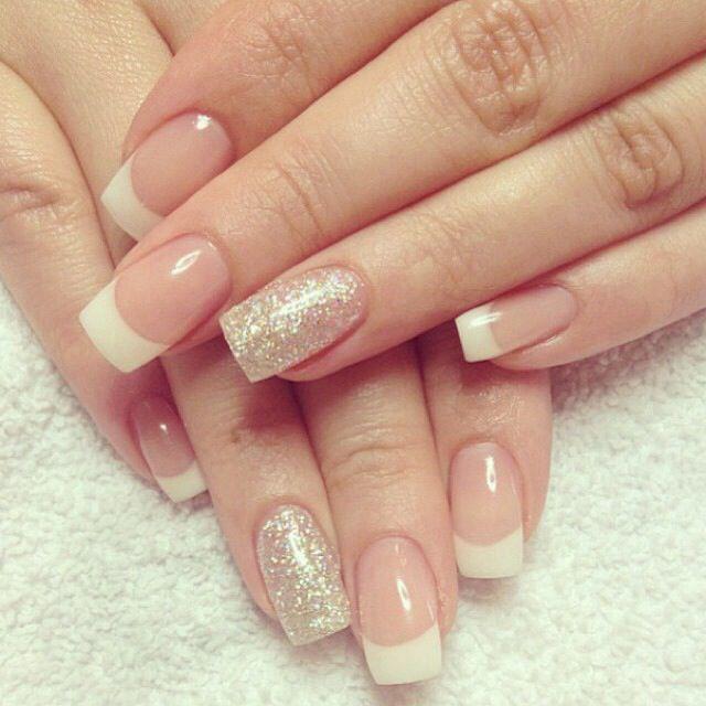 Glittering Gold French Manicure Design Unas Nagel Manikure