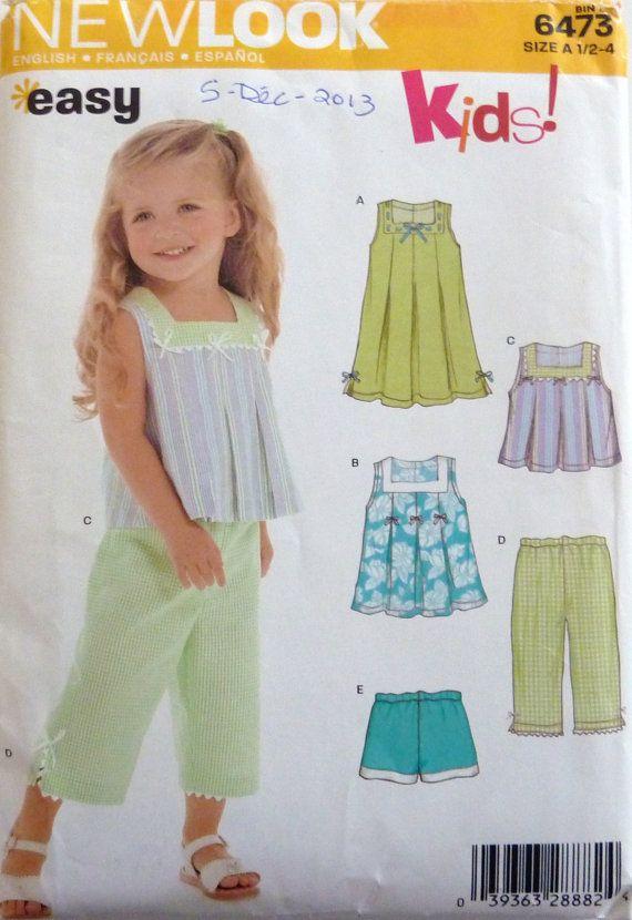 Sewing Pattern New Look Kids 6473 Girl\'s summer dress, pants, top ...