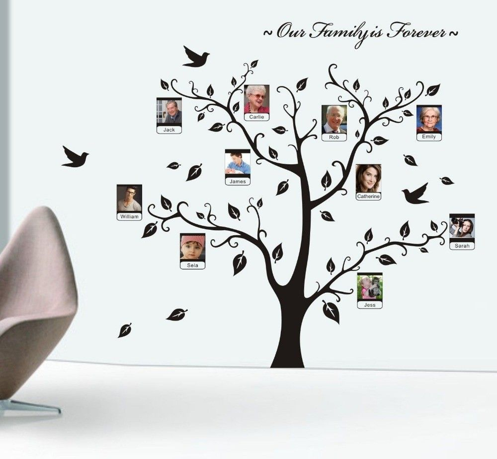 Family Tree Murals For Walls freee shipping wall quotes family tree photo mural forever family