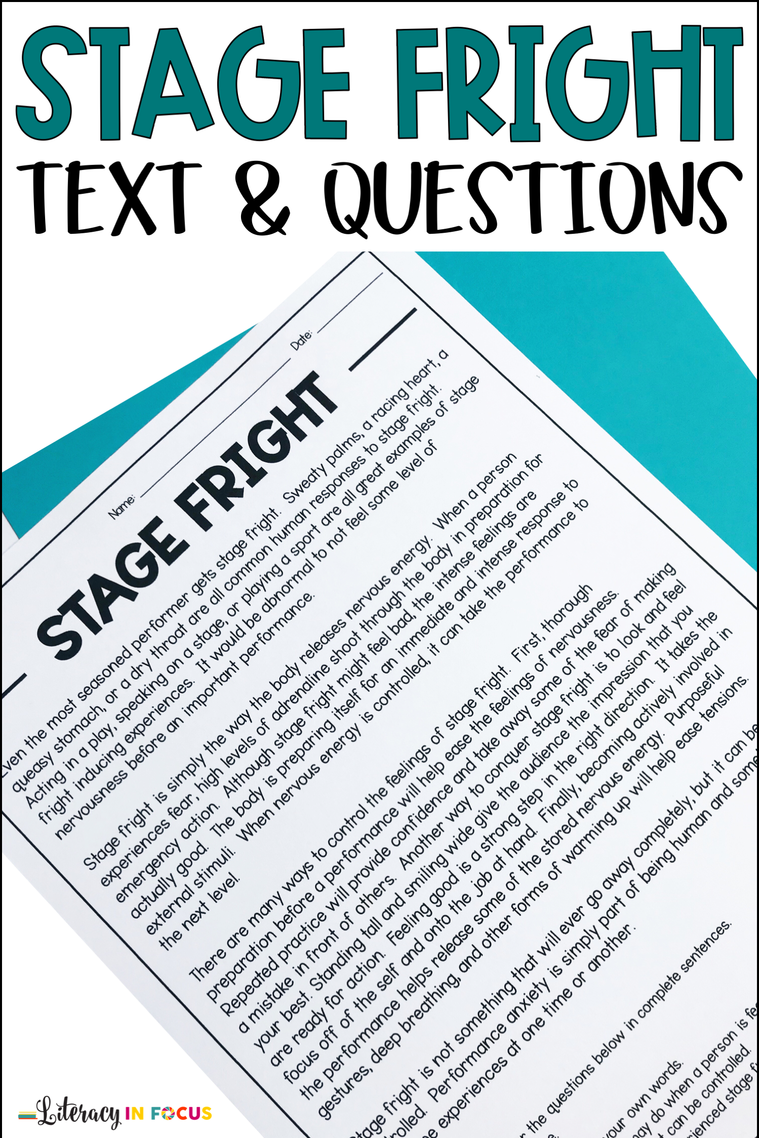 Stage Fright Worksheet And Questions