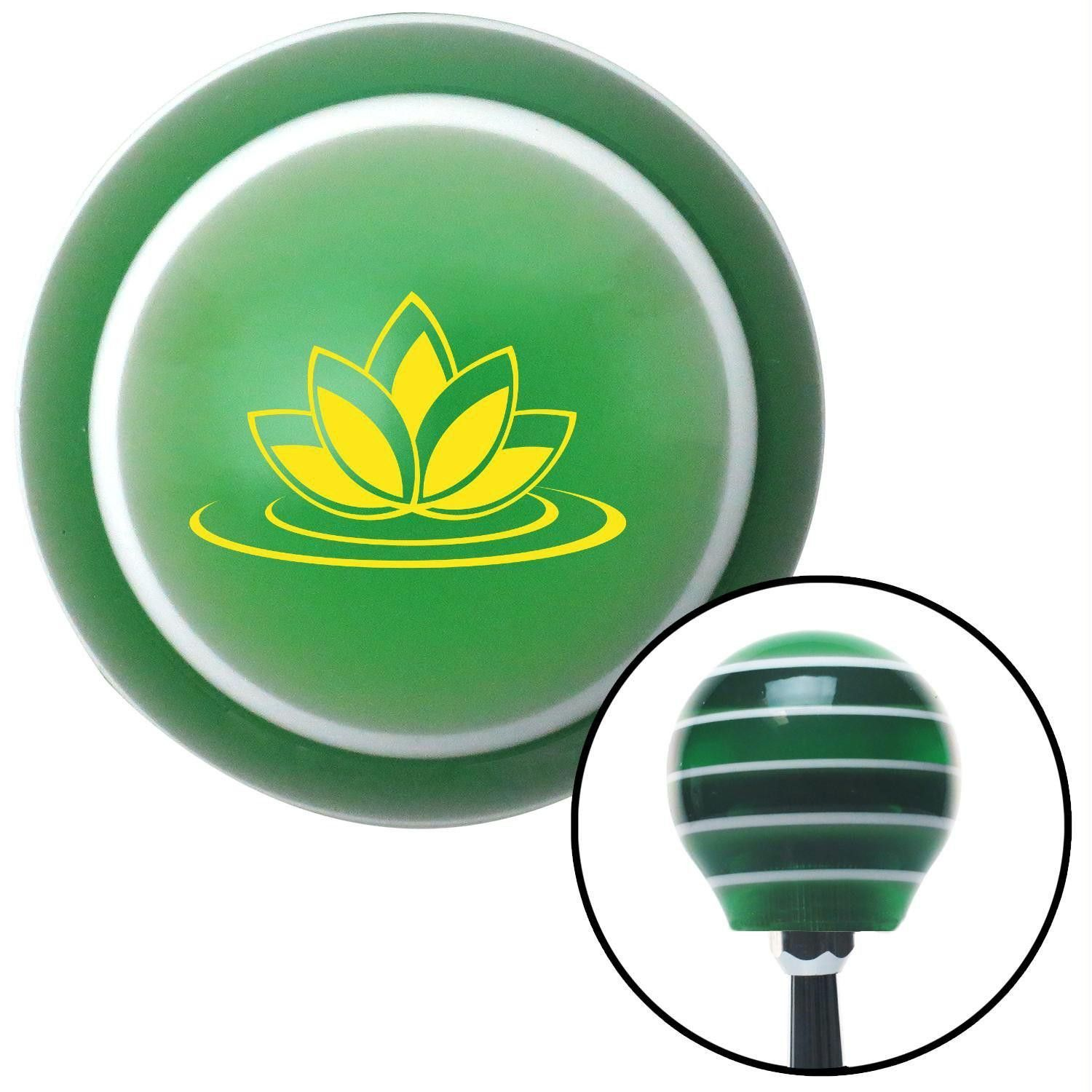 Yellow Flower On Water Green Stripe Shift Knob With M16 X 15 Insert