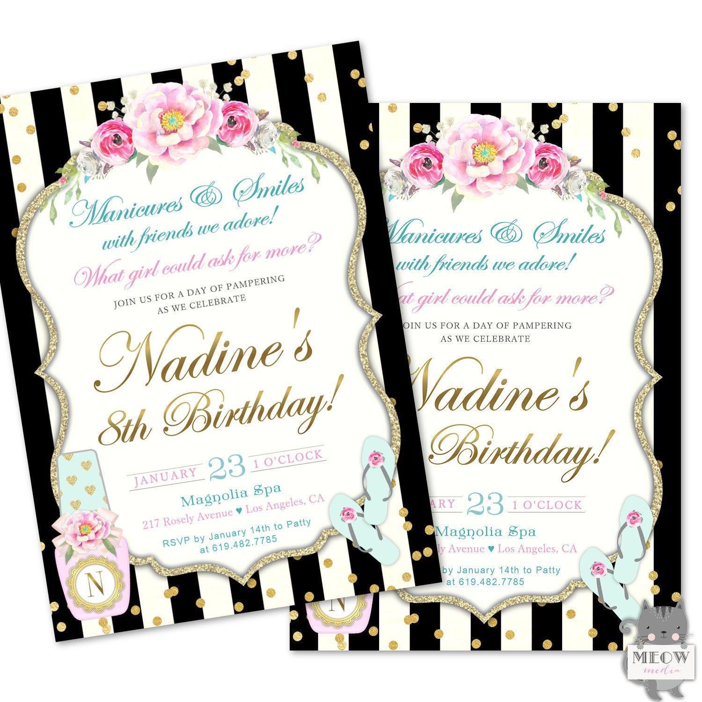 Spa Birthday Party Invitations, Girl\'s Spa Invitations, Spa ...