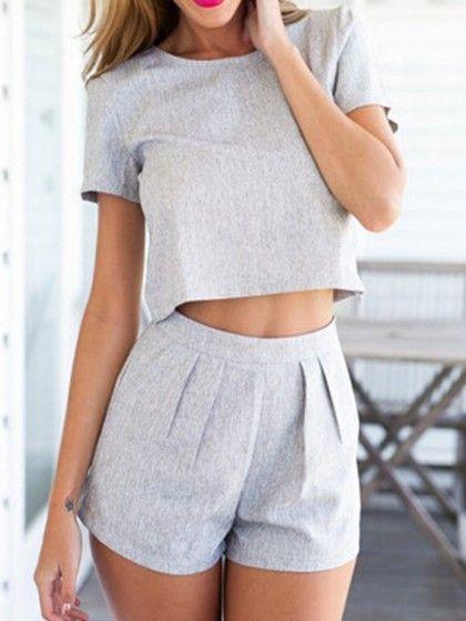 Grey Crop Top with High Waist Shorts | Abschlussarbeiten ...