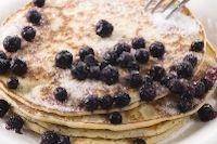 Sourdough pancakes with fresh blueberries