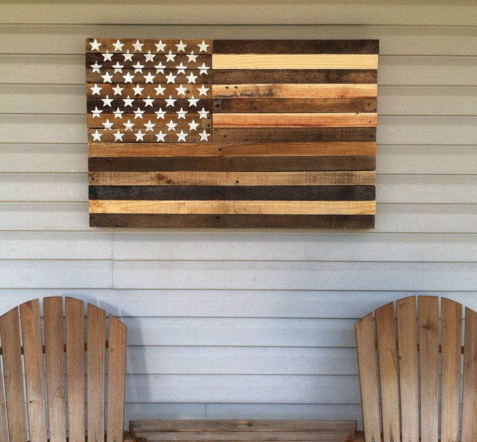 "American Flag Wall Art reclaimed pallet american flag hanging wall art 38"" long x 25"