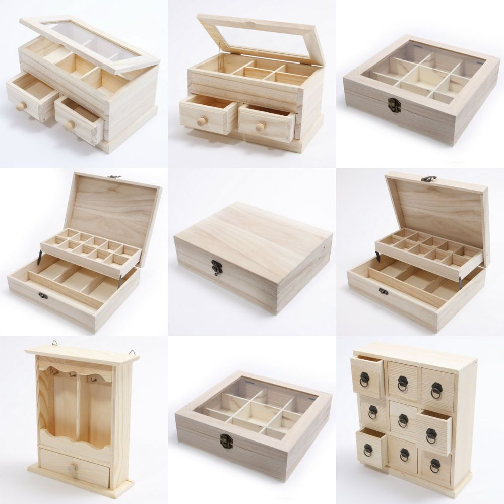 Wooden Craft Boxes To Decorate Wooden Craft Boxes Box Storage Organiser Keys Sewing Knick Knacks