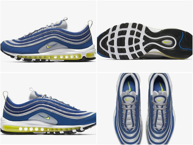 b0e706fc6dcaa 2017 Fall Winter New NIKE Air Max 97 Atlantic Blue Voltage Yellow 921826-401