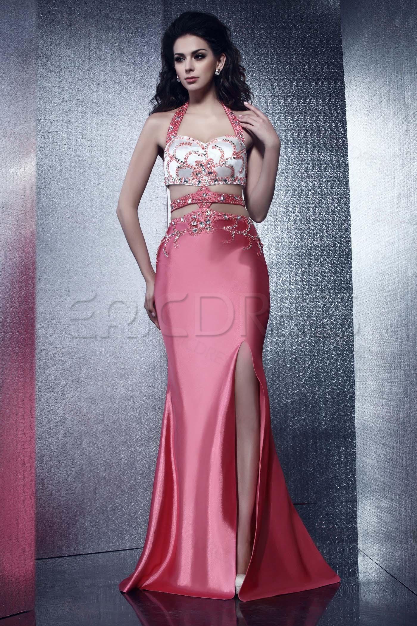 Brilliant mermaid halter floorlength beading talineus evening dress