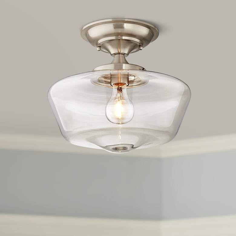 Schoolhouse Floating 12 W Brushed Nickel Clear Ceiling Light 32r66 Lamps Plus In 2021 Bathroom Ceiling Light Flush Mount Ceiling Lights Ceiling Lights