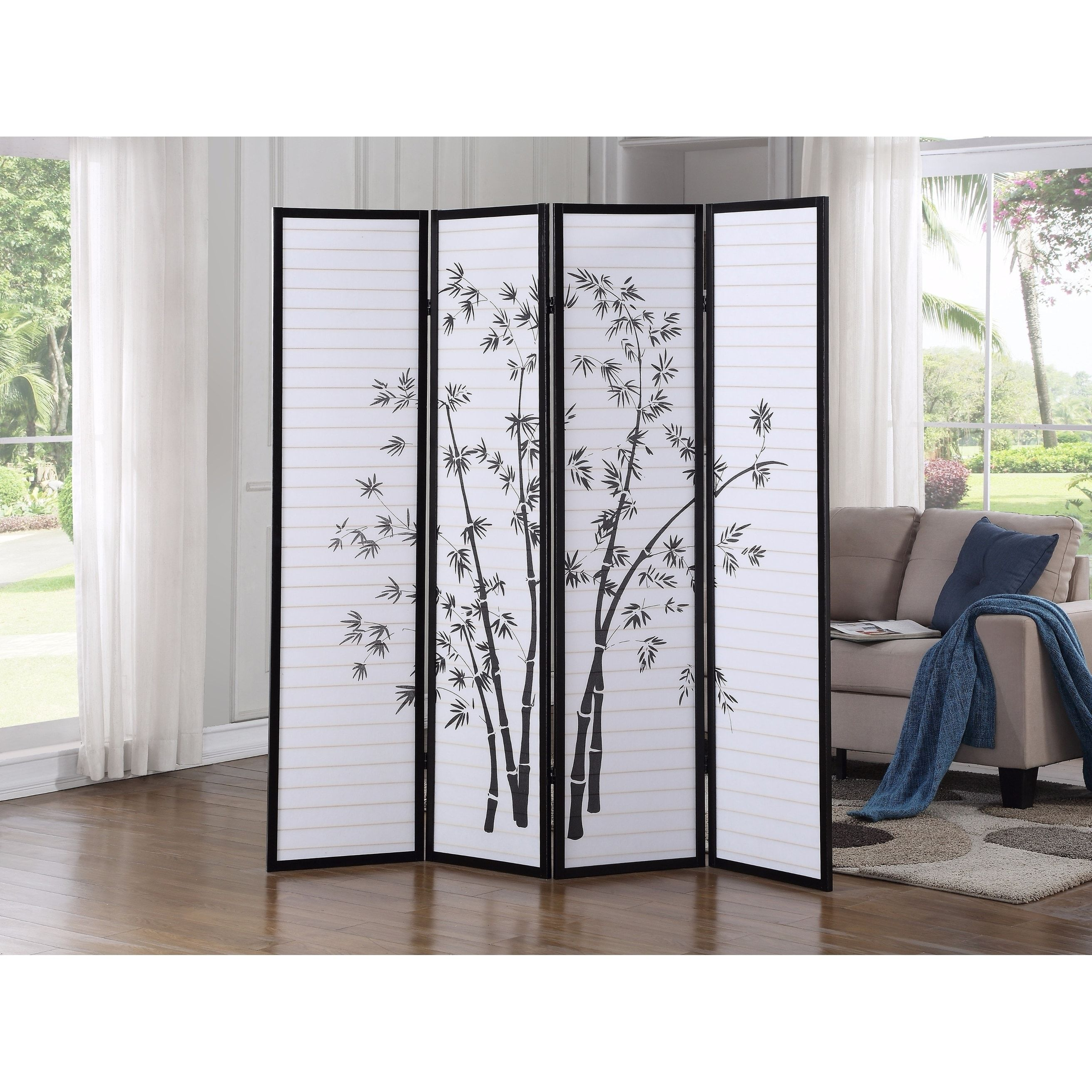 Bamboo Print 4 Panel Framed Room Screen Divider Black