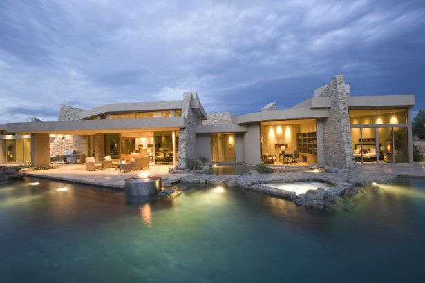 Architectures, Single Story Modern Home Design With Pool And Jacuzzi With Stone Deck: Home Design: Get Simple and Bring Great Comfy
