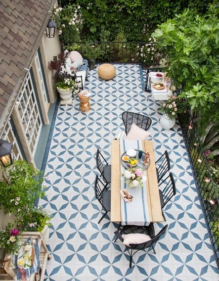 How To Add A Pop Of Color To Your Outdoor Space With Cement Tiles Granada Tile Cement Tile Blog Tile Ideas Tips And More Outdoor Tile Patio Patio Tiles Patio Flooring