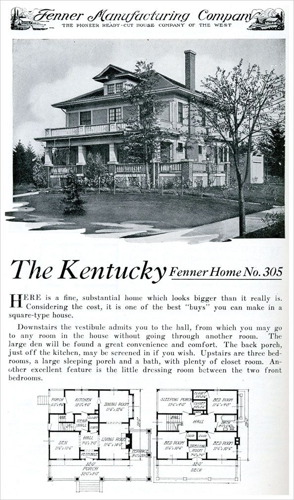The Fenner Kentucky House Plan C 1921 Ready Built Kit Home Colonial Revival Foursquare House Plans Four Square Homes How To Plan