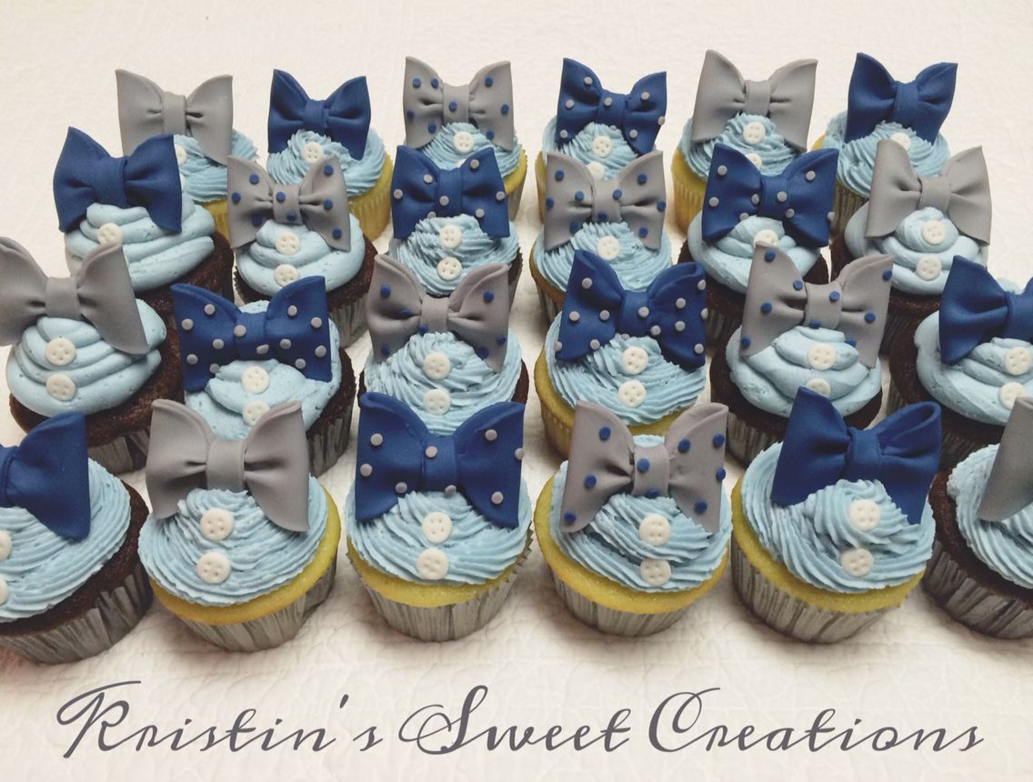 Bow Ties And Buttons Baby Shower Cupcakes. Would Also Be Great For A First  Birthday