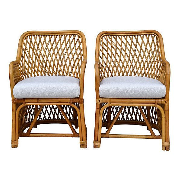 Pre Owned Bent Bamboo Rattan Chairs Pair ($1,249) ❤ Liked On Polyvore  Featuring
