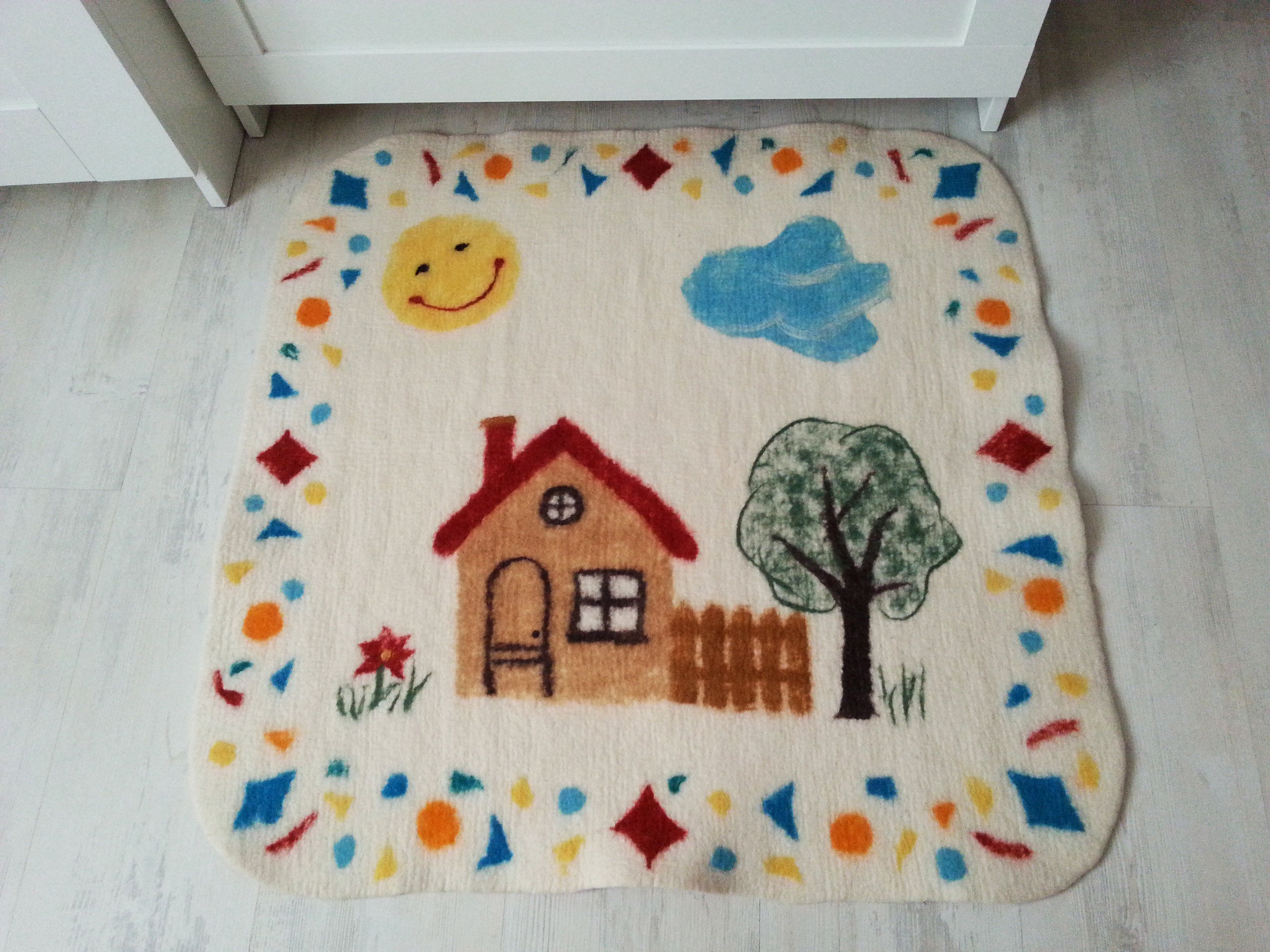 Felted Wool Baby Play Mat Soft And Gentle Playing Ground For Your Baby Wool Felt Handmade Baby Play Mat