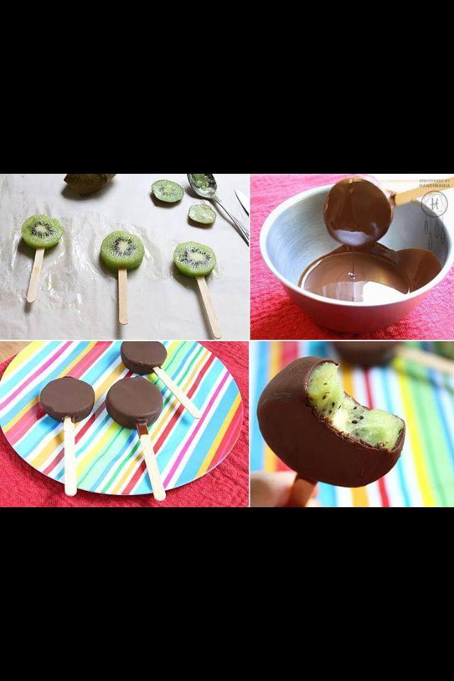 Frozen Kiwi chocolate pops--yummo