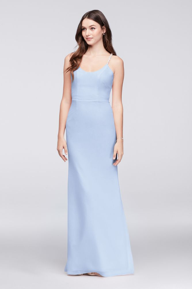 Chiffon Sheath Bridesmaid Dress with Beaded Straps Style F19526 ...