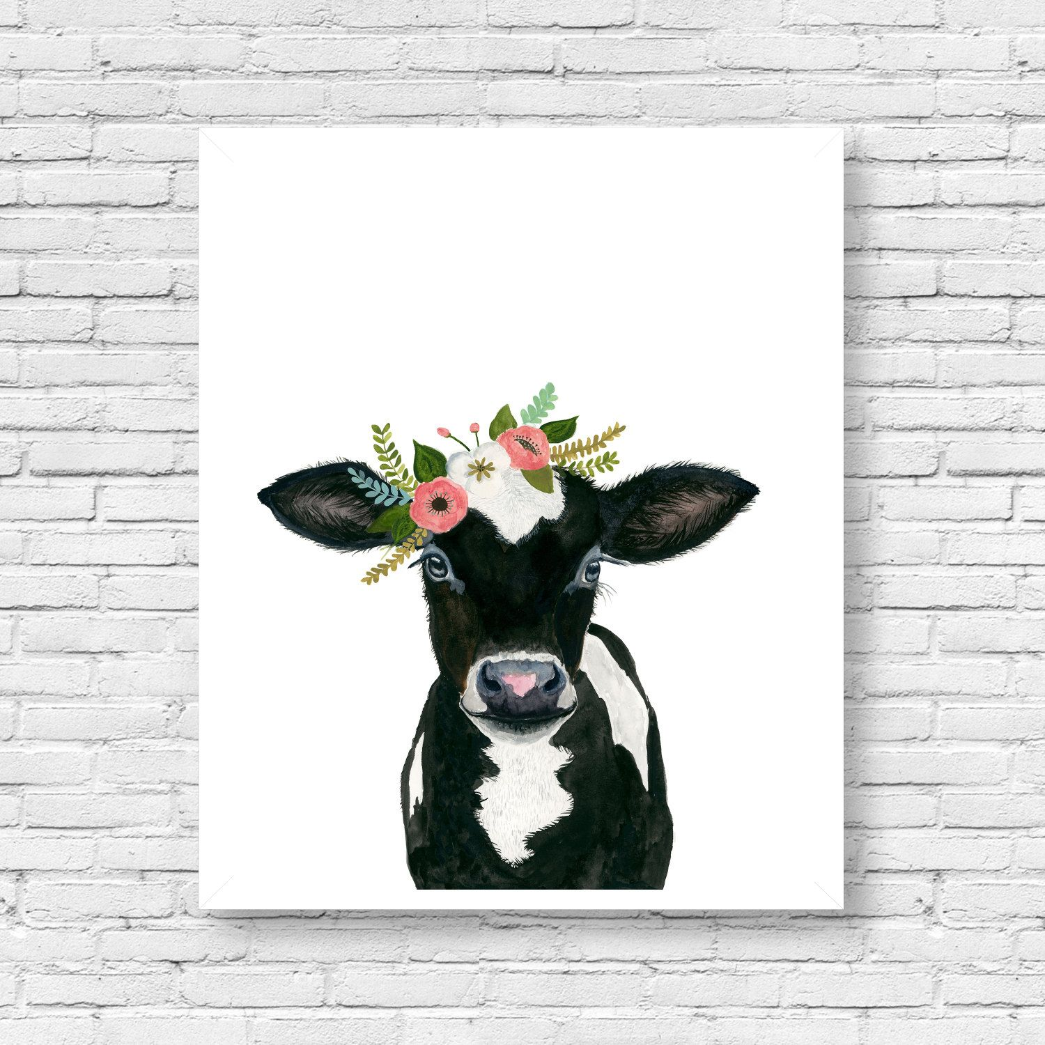 Flower Crowned Black Calf Baby Farm Animals Cow Painting