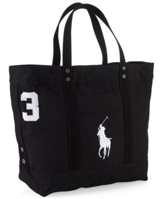 Polo Ralph Lauren Men s Big Pony Canvas Tote - Natural Navy ... 199709737a609