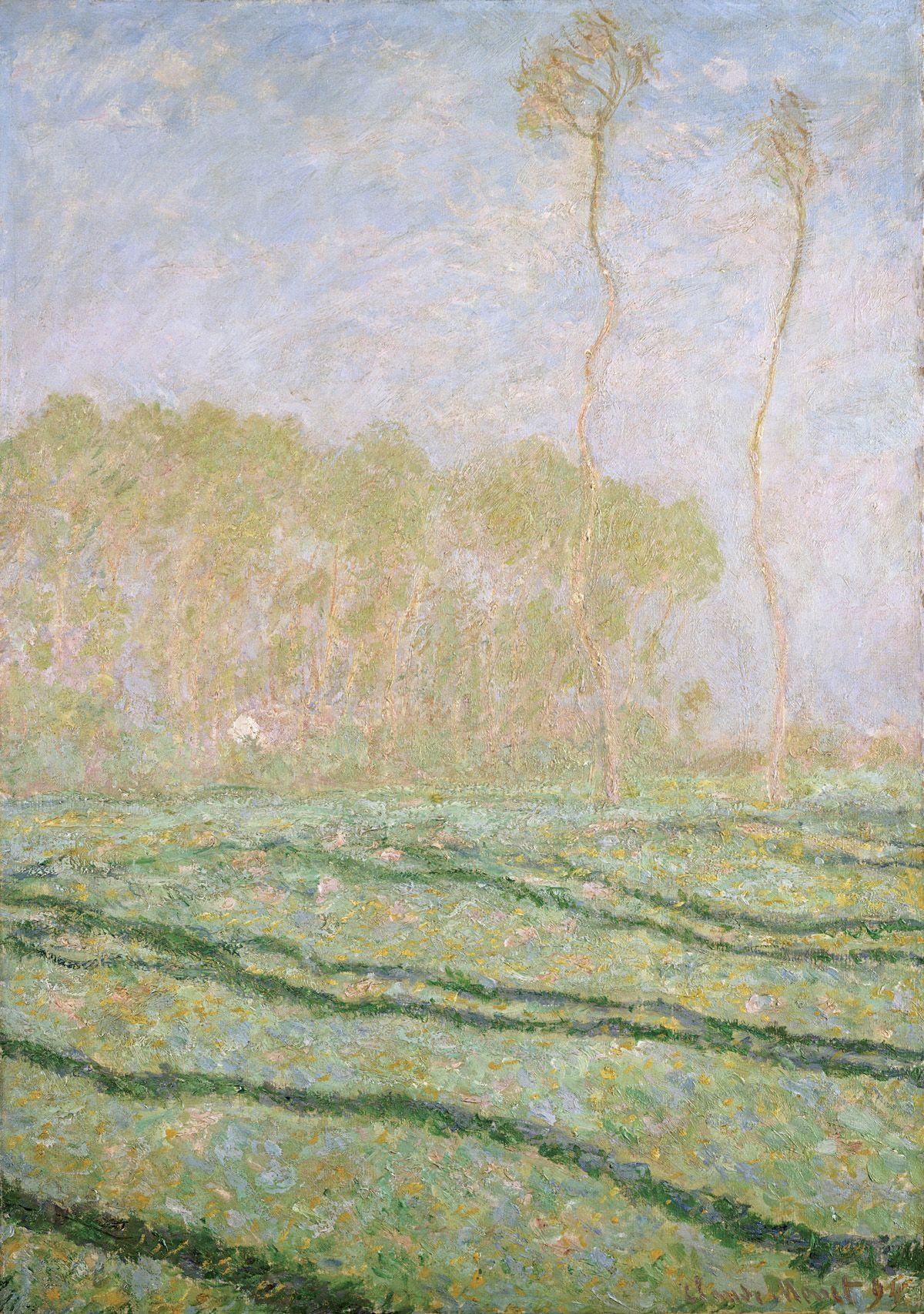 Claude Monet Paysage De Printemps A Giverny Huile Sur Toile 30 5 X 45 7 Cm 1894 Collection Privee Dans Correspondances Impressionismus Malerei Olmalerei