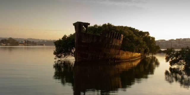 4. Los restos del Ayrfield SS en Bahía Homebush, Australia