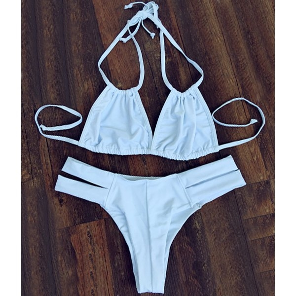17.02$  Watch here - http://dil7i.justgood.pw/go.php?t=179572303 - Stylish Pure Color Double Halter Cut Out Women's Bikini Set 17.02$