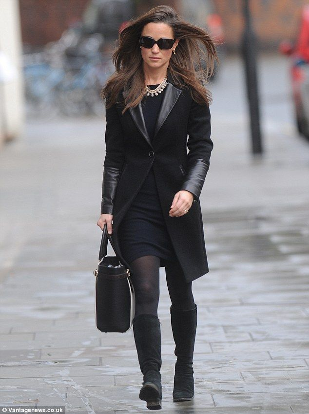 Power-dressing Pippa Middleton hits town in leather-trim coat ...