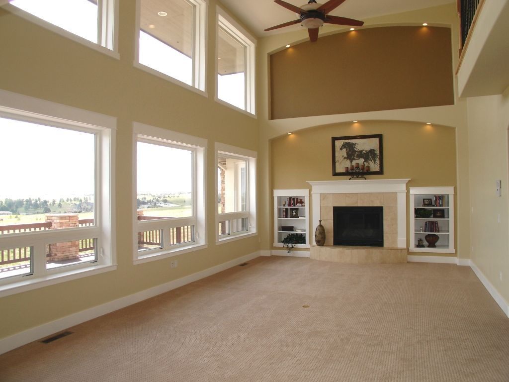 Window ideas for family room  living area in a custom home by gj gardner homes high ceilings