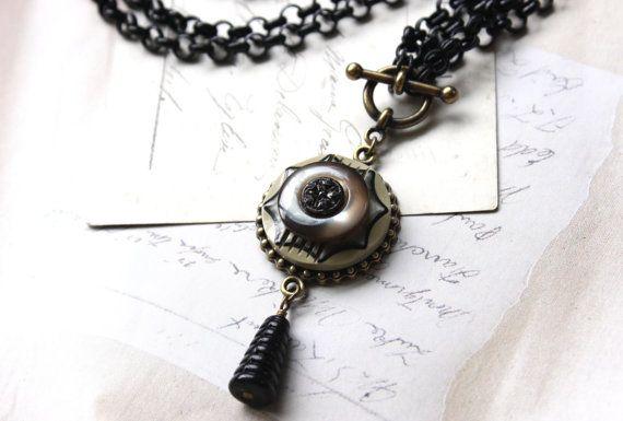 Art Deco Jewelry Black Chain Necklace Black Cream Tan by veryDonna