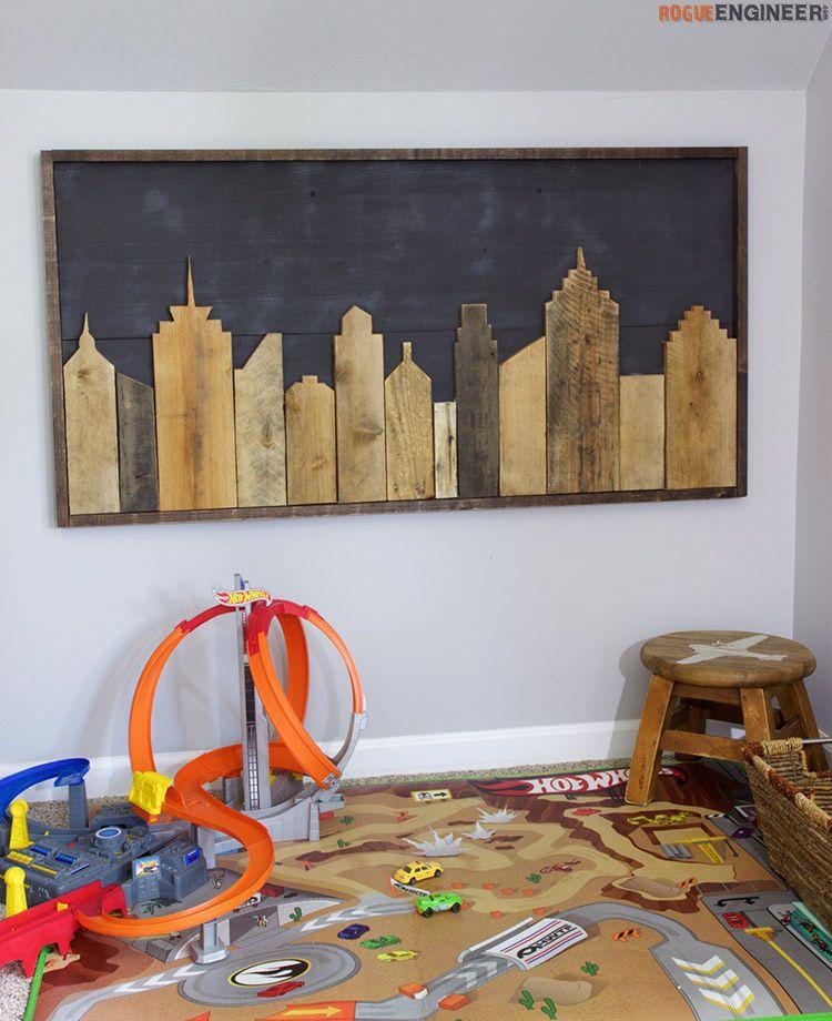 Cityscape wall art pallet wall art diy wall art diy