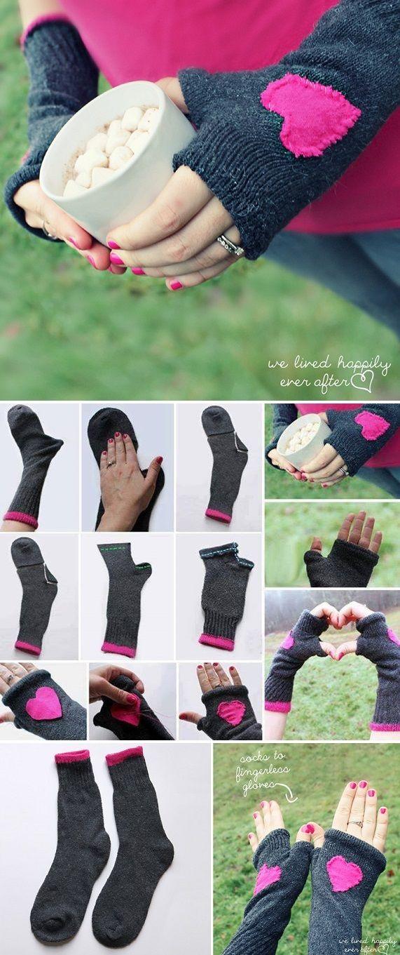 Fingerless Gloves Made from Socks - DIY #glovesmadefromsocks