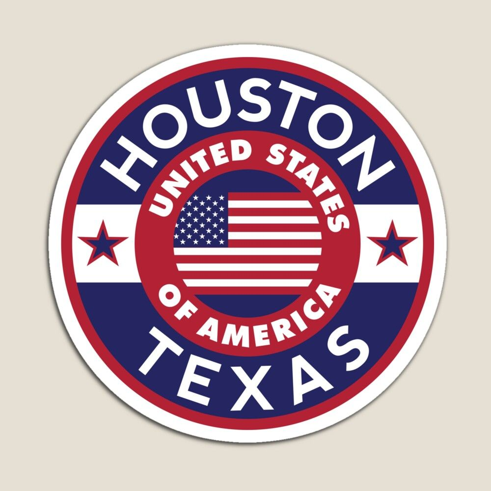Houston Texas Magnet By Alma Studio Travel Stickers Travel Stamp Luggage Stickers [ 1000 x 1000 Pixel ]