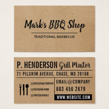 Natural Layout Bbq Business Card Love