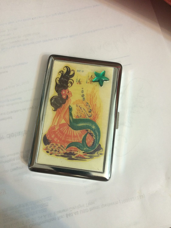 Retro Brunette Mermaid 2-Clip Cigarette Credit Card I.D. Case ...