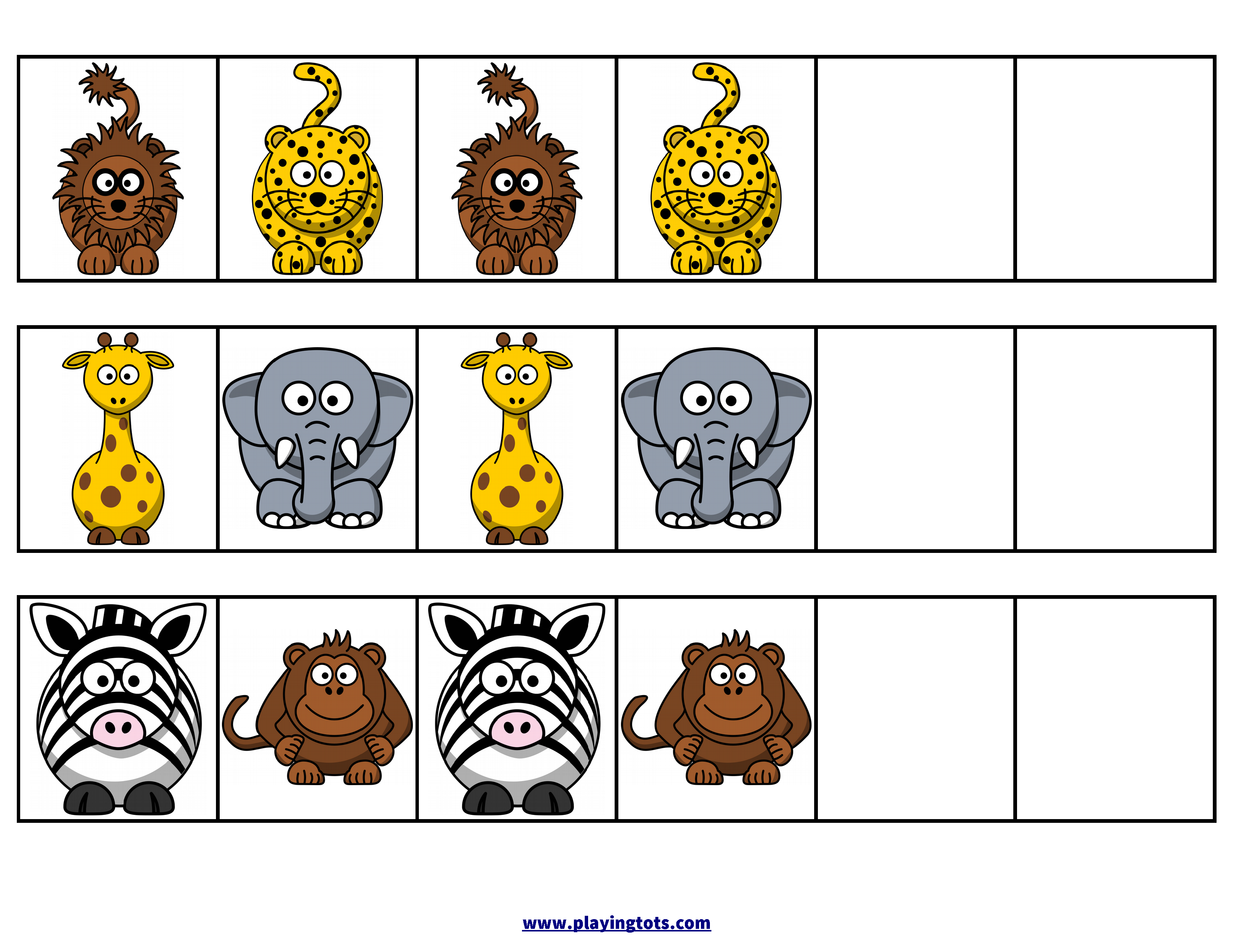 pattern animals zoo activity free printable file folder toddler preschool kids match zoo zoo. Black Bedroom Furniture Sets. Home Design Ideas