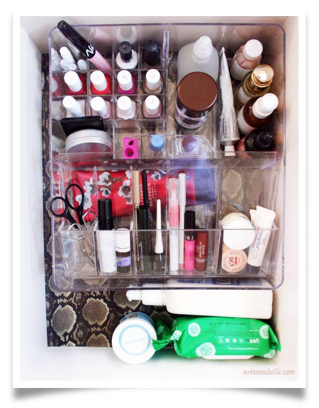 organized makeup drawer arianna belle blog astuce makeup rangement vernis cosm tiques. Black Bedroom Furniture Sets. Home Design Ideas