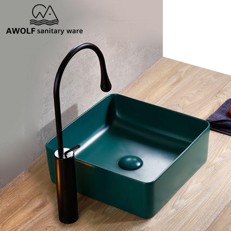 Bathroom Sinks Ceramic Vessel Art Forest Dark Green Basin