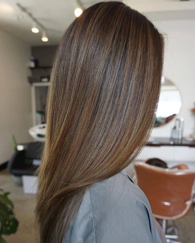 solid brunette color hair