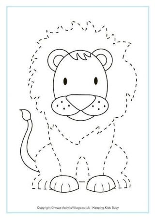 Lion Tracing Page  Applique Pinterest Lions Animal and Crafts