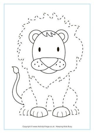 lion tracing page preschool jungle animal worksheets tracing sheets. Black Bedroom Furniture Sets. Home Design Ideas