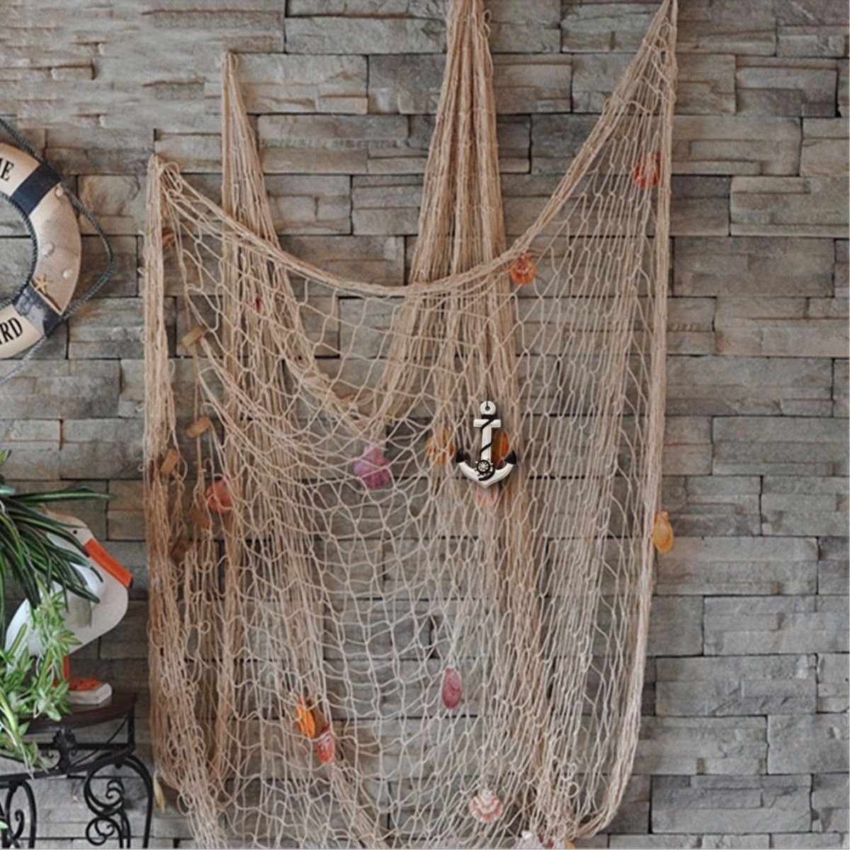 AmazonSmile: KINGSO Mediterranean Style Decorative Fish Net With Anchor and Shells Beige: Home & Kitchen