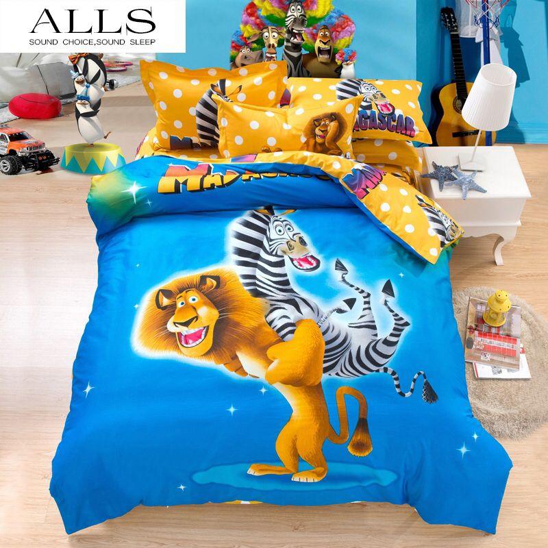 100 cotton cartoon bedding sets madagascartoy story bed sheet set christmas items