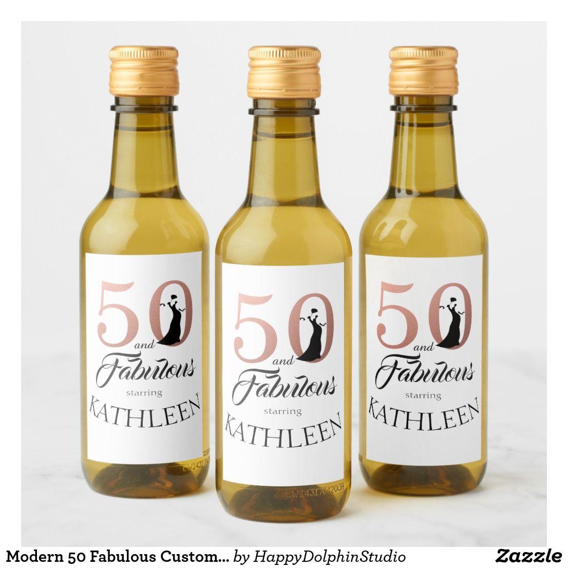 Modern 50 Fabulous Custom Name 50th Birthday Pink Wine