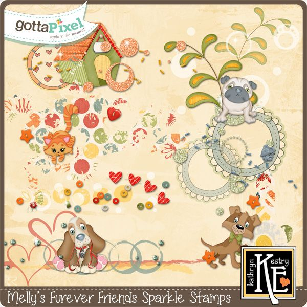 Melly's Furever Friends Sparkle Stamps :: Gotta Pixel Digital Scrapbook Store  by Kathryn Estry  $2.99